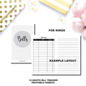 Personal Rings Size | Bill Tracker Printable Insert ©