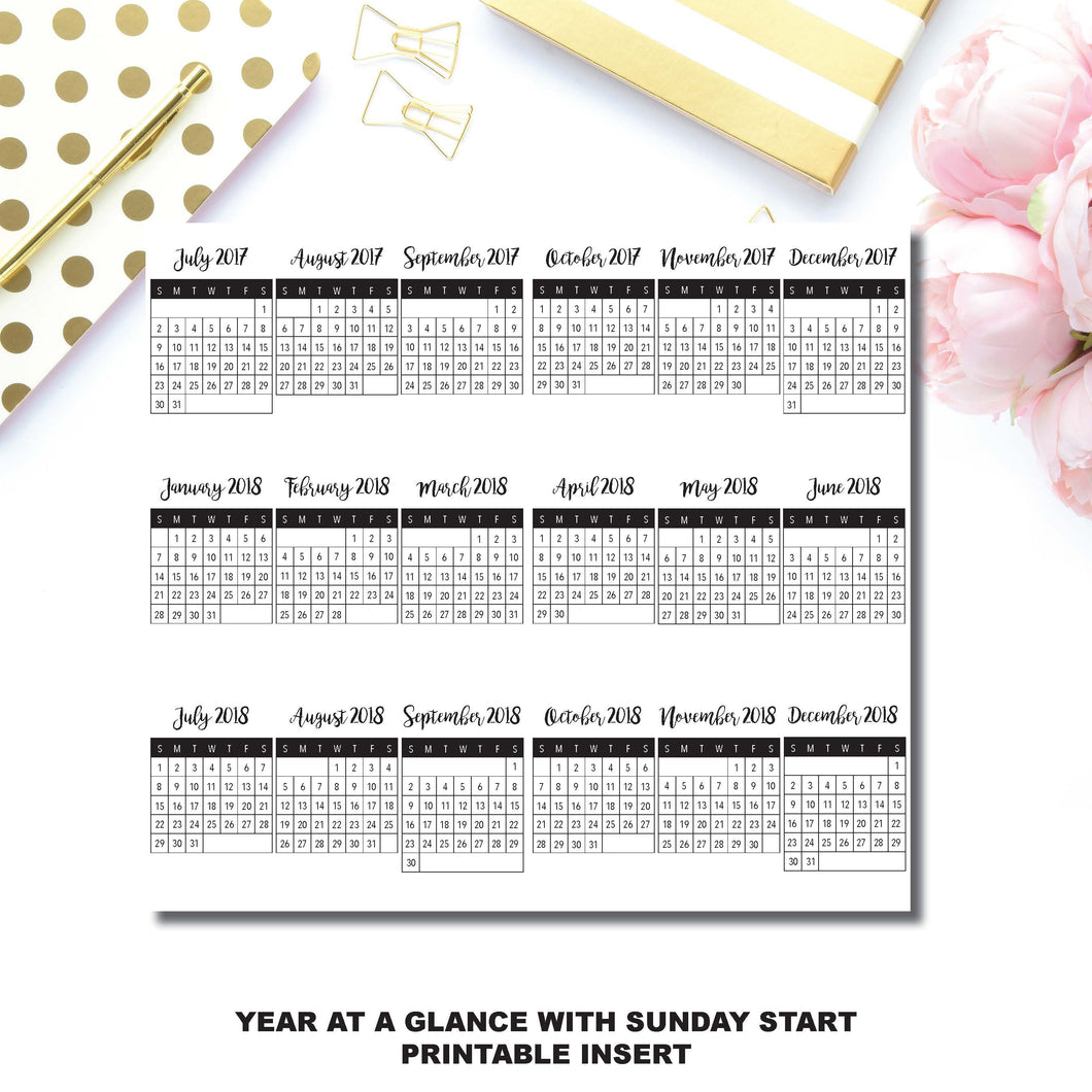 Personal TN Size | July 2017 - December 2018 Fold Over Year at a Glance Printable Insert with Sunday Start ©
