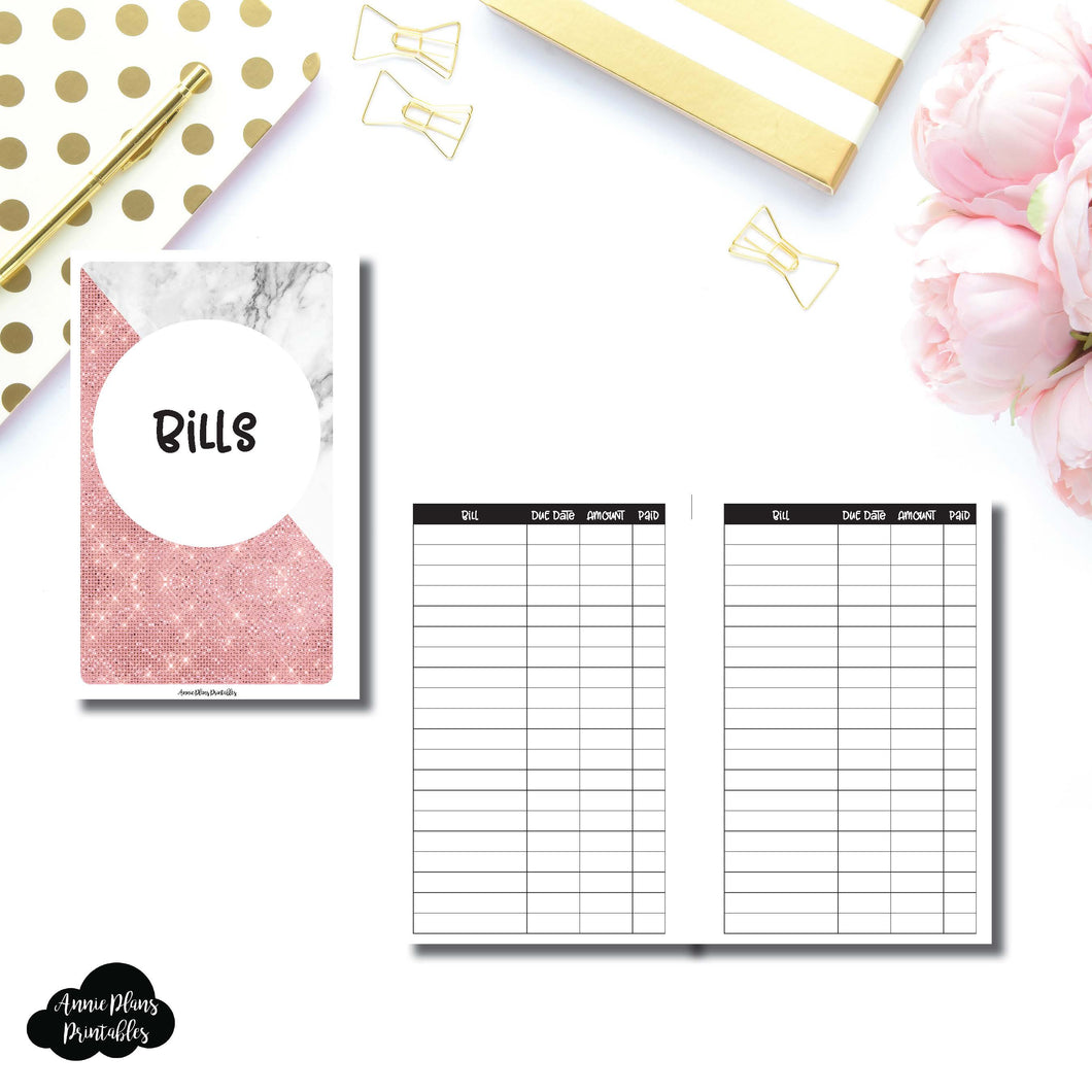 Mini HP Size | Basic Bill Tracker Printable Insert ©