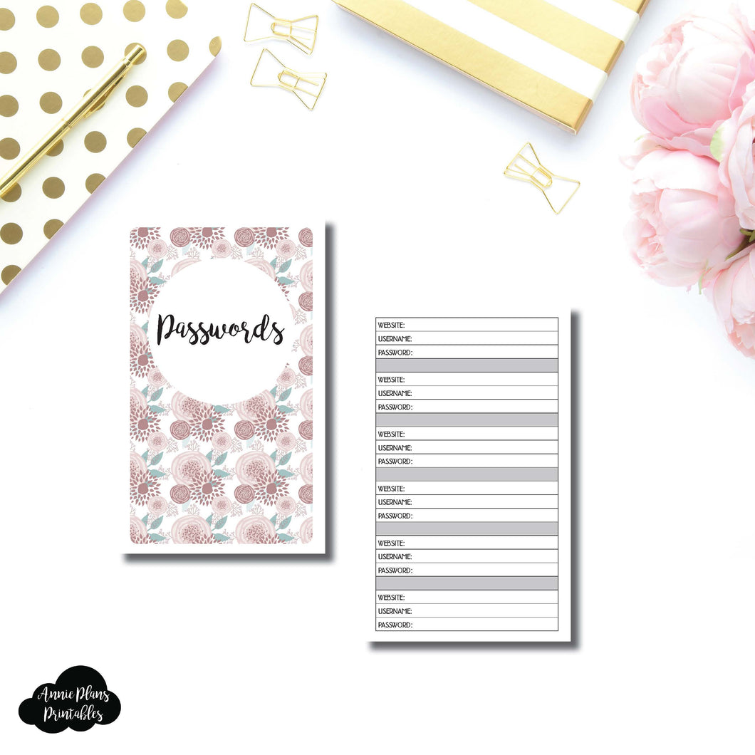 B6 SLIM TN SIZED | PASSWORD Printable Travelers Notebook Insert ©