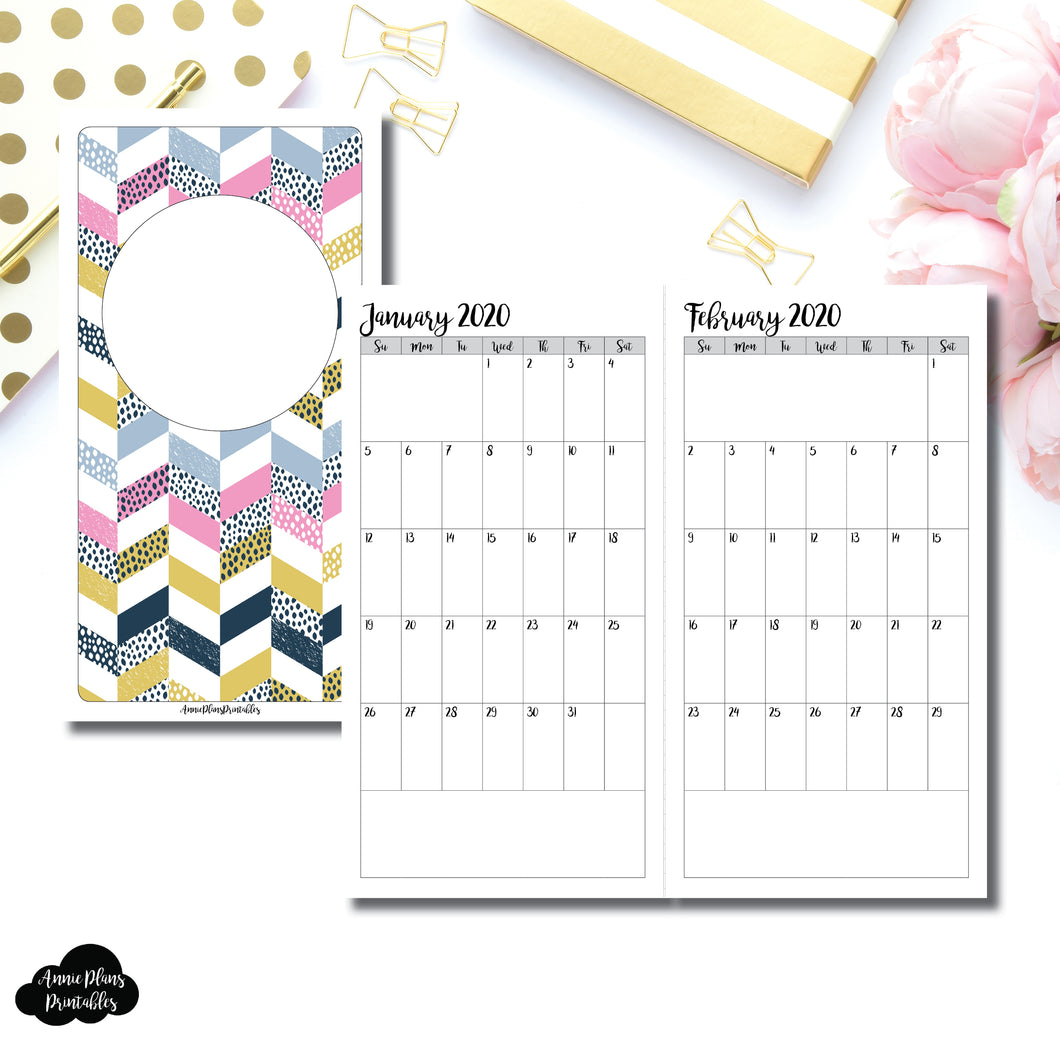 Standard TN Size | 24 Month (JAN 2020 - DEC 2021) SINGLE PAGE Monthly Printable Insert ©