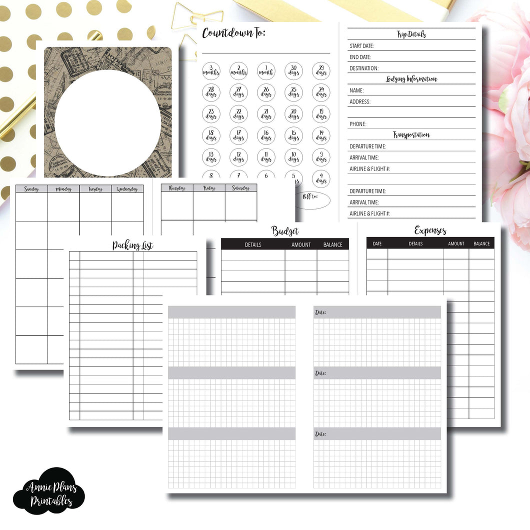 A6 TN Size | Vacation Planning Printable Insert for Travelers Notebook ©