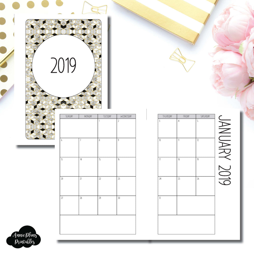 A6 Rings Size | 2019 SIMPLE FONT Monthly Calendar (SUNDAY Start) PRINTABLE INSERT ©