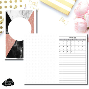 Half Letter Rings Size | Monthly Dated Important Dates with Dot Grid Printable Insert ©