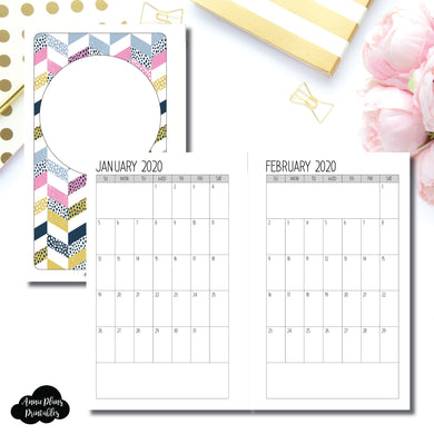 FC Rings Size | SIMPLE FONT 24 Month (JAN 2020 - DEC 2021) SINGLE PAGE Monthly Printable Insert ©