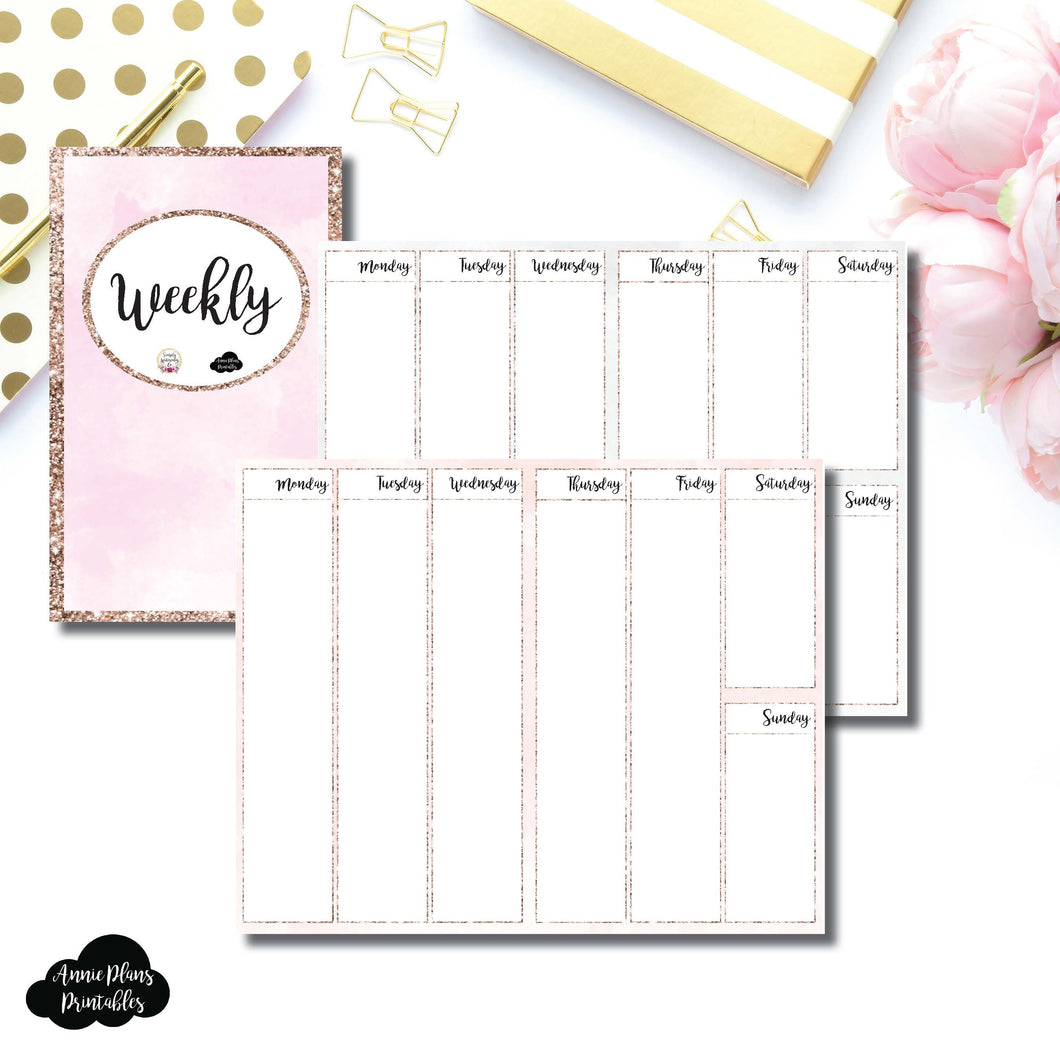 Cahier TN Size | SIMPLY WATERCOLORCO Collaboration - Vertical Week on 2 Page Printable Insert ©