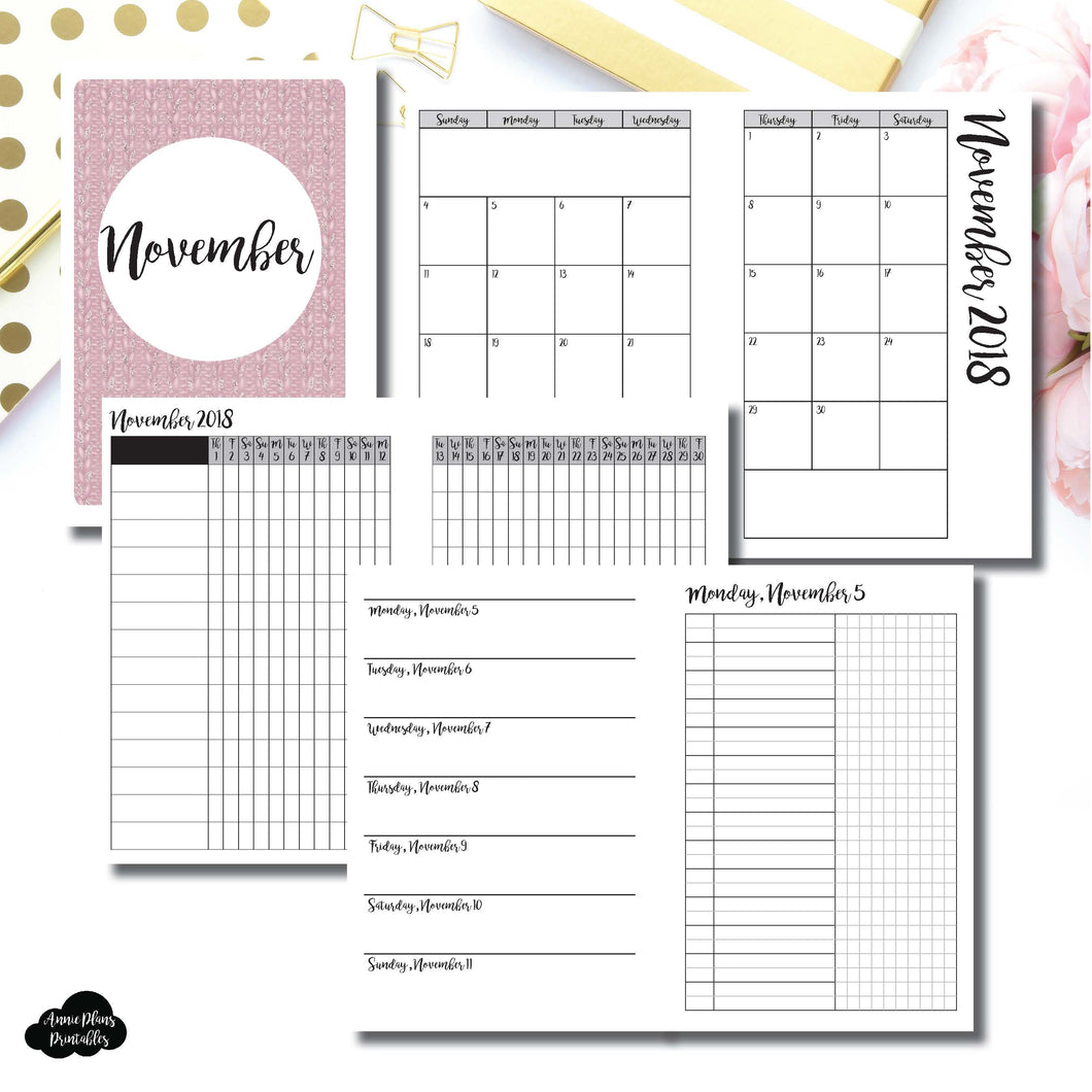 A6 Rings Size | NOV 2018 | Month/Weekly/Daily UNTIMED (Monday Start) Printable Insert ©