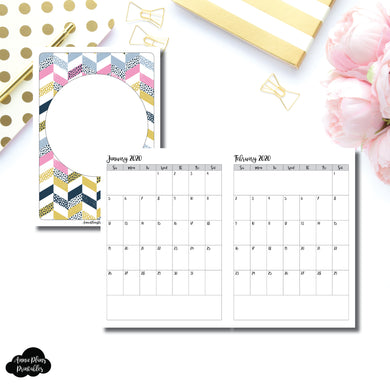 B6 TN Size | 24 Month (JAN 2020 - DEC 2021) SINGLE PAGE Monthly Printable Insert ©
