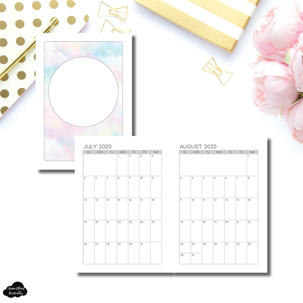A5 Rings Size | 18 Month (JULY 2020 - DEC 2021) SINGLE PAGE Monthly Printable Insert ©