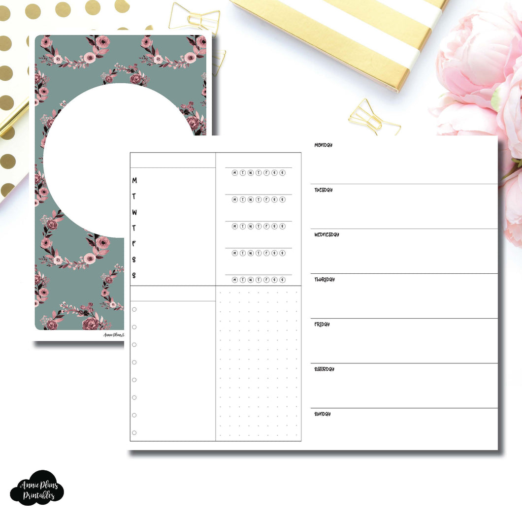 Cahier TN Size | Undated Horizontal Week on 2 Page Layout Printable Insert ©