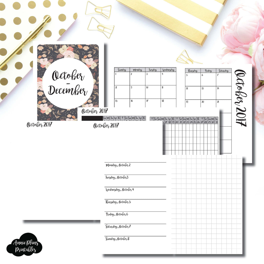PASSPORT TN Size | OCT - DEC 2017 | Horizontal Week on 1 Page + Grid (Monday Start) Printable Insert for Travelers Notebooks ©