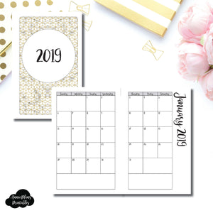 Mini Hp Size 2019 Monthly Calendar Sunday Start Printable Insert