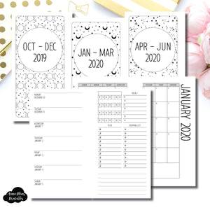 Personal Rings Size | OCT 2019 - JUNE 2020 | Week on 1 Page (Monday Week Start) With Trackers + Lists Printable Insert ©
