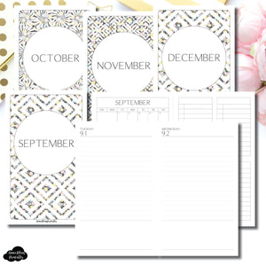 B6 Slim TN Size | SEP - DEC 2020 Simple Full Month UNTIMED Daily BUNDLE Printable Insert