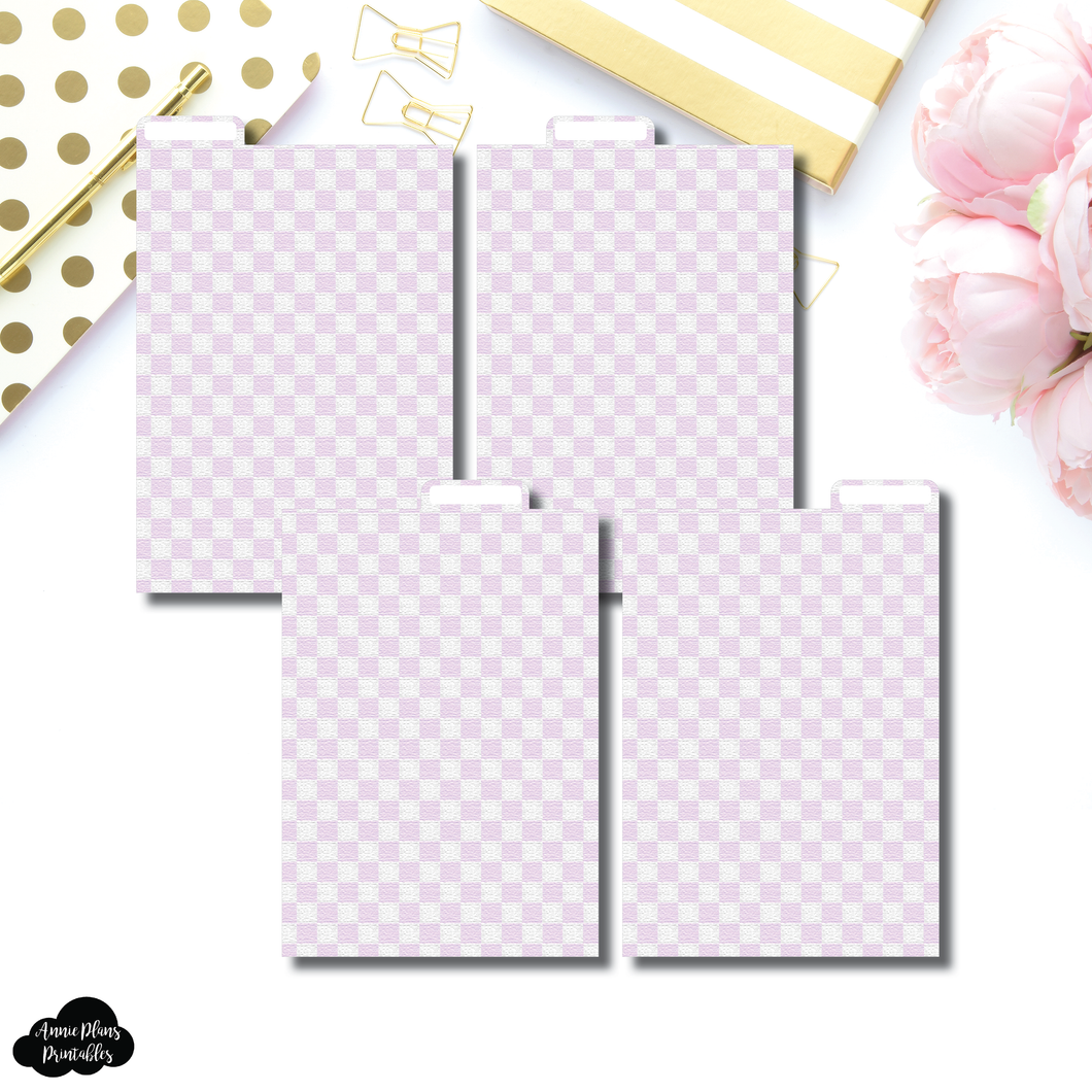A6 Ring Dividers | Luxe Lilac 4 Top Tab Printable Dividers