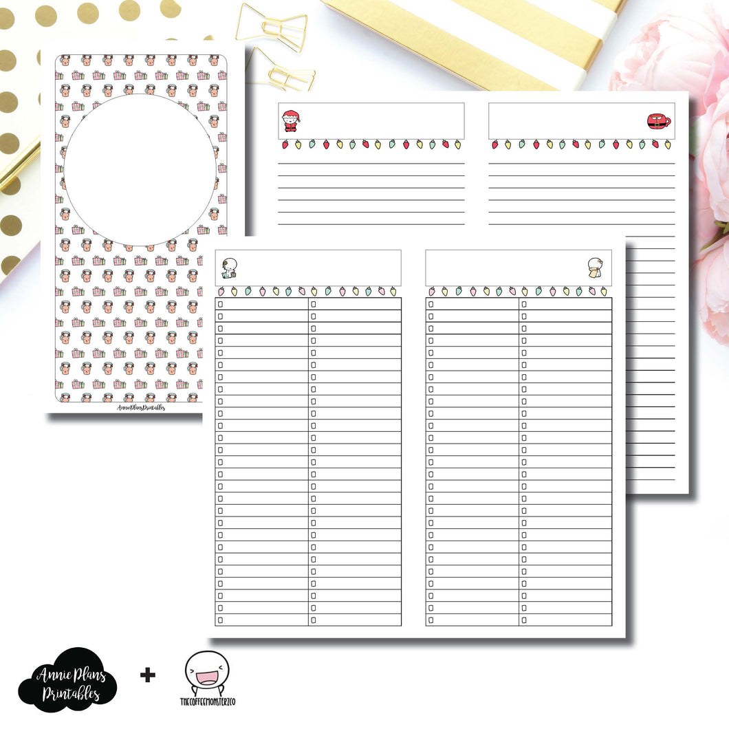 Standard TN Size | TheCoffeeMonsterzCo Collaboration Holiday Notes & Lists Printable Insert ©
