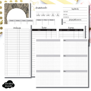Standard TN Size | Vacation Planning Printable Insert for Travelers Notebook ©