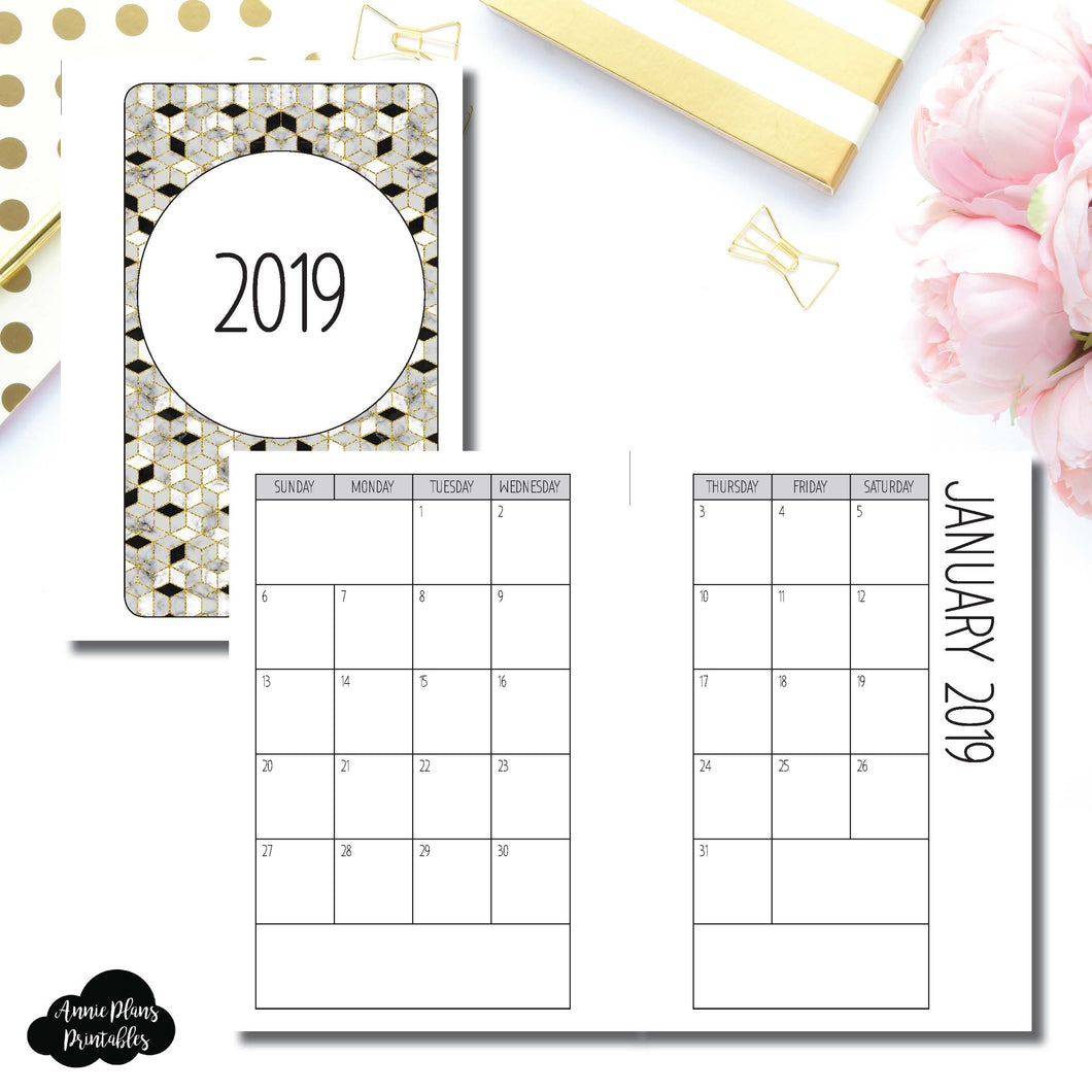 Pocket Rings Size | 2019 SIMPLE FONT Monthly Calendar (SUNDAY Start) PRINTABLE INSERT ©