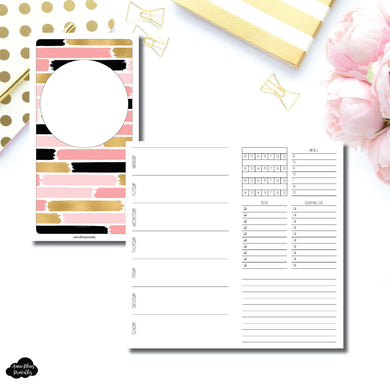 Standard TN Size | Undated Week on 2 Page with Trackers Printable Insert ©