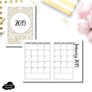 Passport TN Size | 2019 Monthly Calendar (SUNDAY Start) PRINTABLE INSERT ©