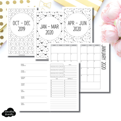 B6 Slim TN Size | OCT 2019 - JUNE 2020 | Week on 1 Page (Monday Week Start) With Trackers + Lists Printable Insert ©