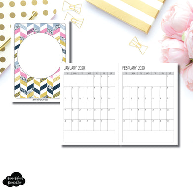 A6 TN Size | SIMPLE FONT 24 Month (JAN 2020 - DEC 2021) SINGLE PAGE Monthly Printable Insert ©