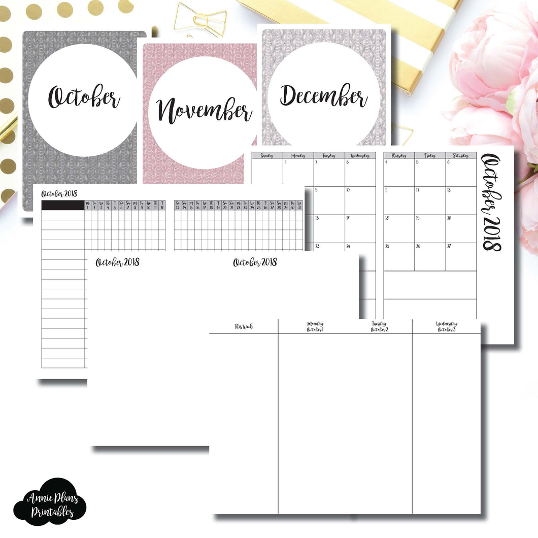 B6 TN Size | OCT - DEC 2018 | Week on 4 Pages (Monday Start) Vertical Layout | Printable Insert ©