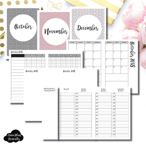A6 TN Size | OCT - DEC 2018 | Week on 4 Pages (Monday Start) TIMED Vertical Layout | Printable Insert ©