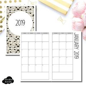 Half Letter Rings Size | 2019 SIMPLE FONT Monthly Calendar (SUNDAY Start) PRINTABLE INSERT ©