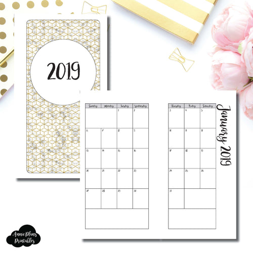 Personal Rings Size | 2019 Monthly Calendar (SUNDAY Start) PRINTABLE INSERT ©