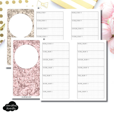 Personal Rings Size | OCT 2018 - DEC 2019 Week on 1 Page Layout (Monday Start) Printable Insert ©