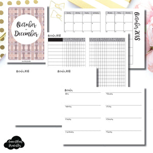 A6 TN Size | OCT - DEC 2018 | Horizontal Week on 2 Page (Monday Start) Printable Insert ©