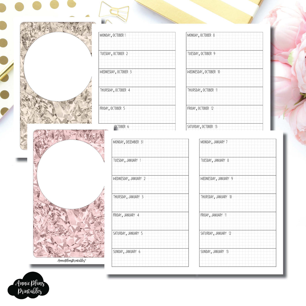 Pocket TN Size | OCT 2018 - DEC 2019 Week on 1 Page Layout (Monday Start) Printable Insert ©