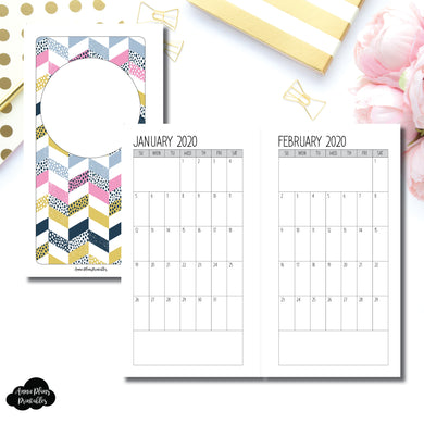 Personal Rings Size | SIMPLE FONT 24 Month (JAN 2020 - DEC 2021) SINGLE PAGE Monthly Printable Insert ©