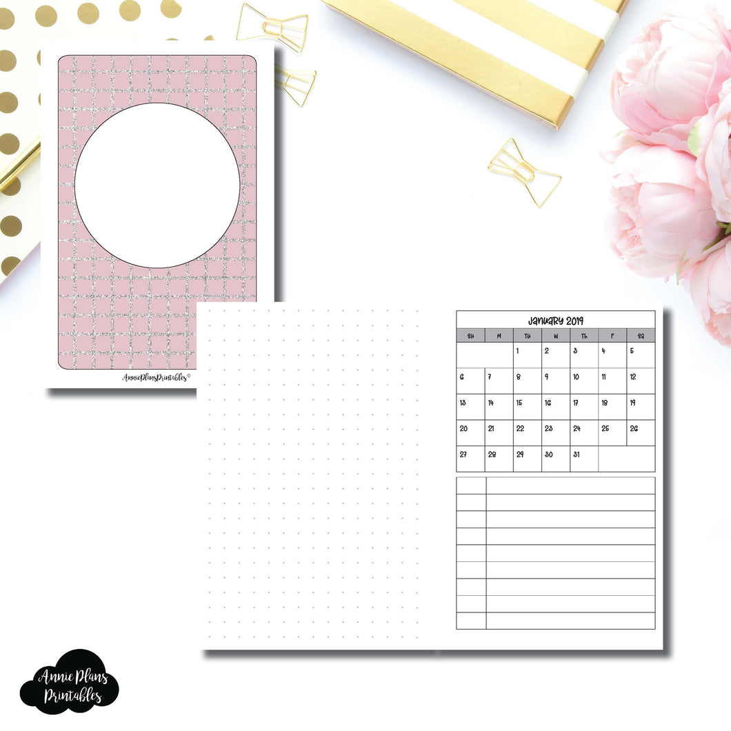 A6 Rings Size | 2019 Monthly Dated Important Dates with Dot Grid Printable Insert ©