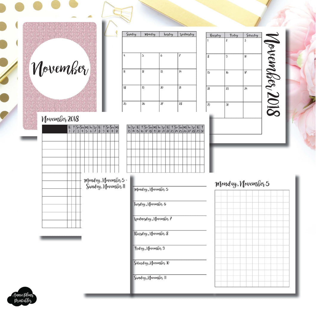 Passport TN Size | NOV 2018 | Month/Weekly/Daily GRID (Monday Start) Printable Insert ©
