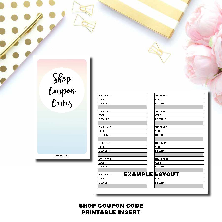 B6 TN Size | Shop Coupon Code Tracker Printable Insert ©