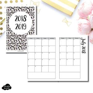 Personal Wide Rings Size | 2018 - 2019 Academic Monthly Calendar (SUNDAY Start) PRINTABLE INSERT ©