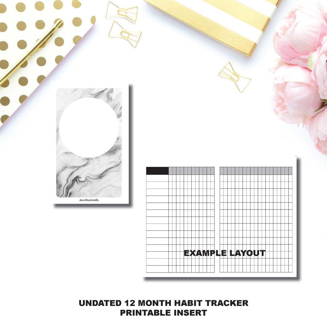 POCKET TN Size | Undated 12 Month Habit Tracker Printable Insert ©