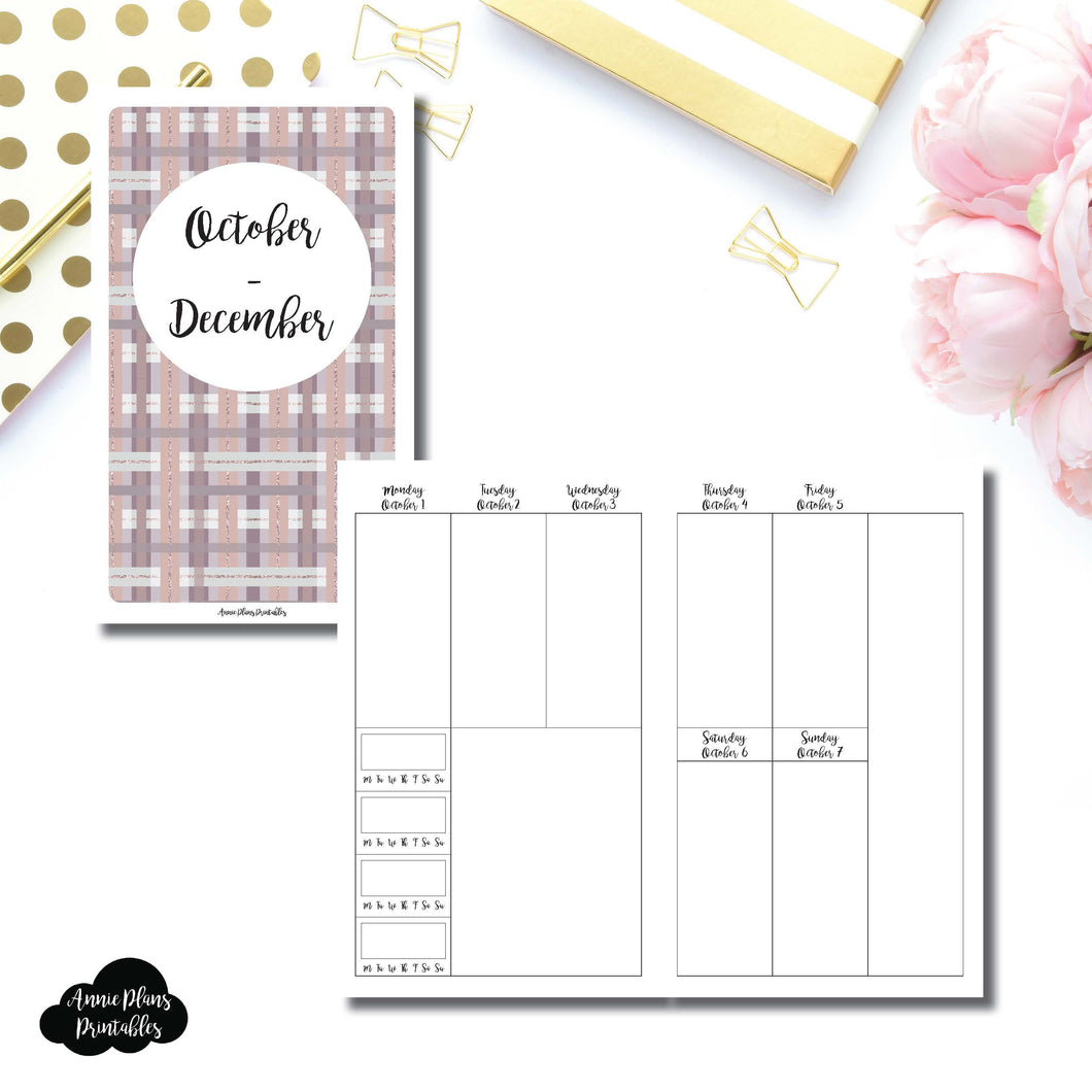 B6 Slim TN Size | OCT - DEC 2018 | BASIC Vertical Week on 2 Page (Monday Start) With Trackers Printable Insert ©