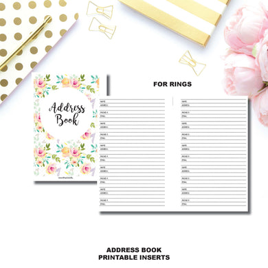 FC Rings Size | Address Book Printable Insert ©