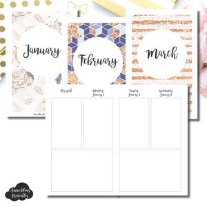 Pocket TN Size | Jan 2018 - March 2018 Basic Vertical Week on 4 Page (Monday Start) Layout Printable Insert ©