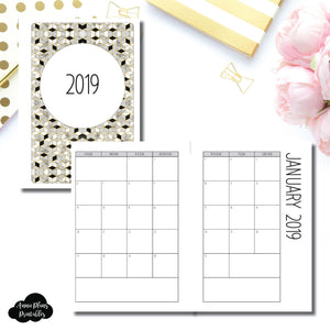 Personal Wide Rings Size | 2019 SIMPLE FONT Monthly Calendar (SUNDAY Start) PRINTABLE INSERT ©