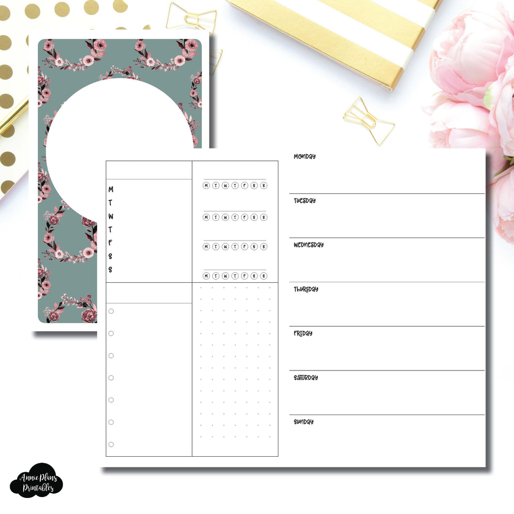 B6 Slim TN Size | Undated Horizontal Week on 2 Page Layout Printable Insert ©