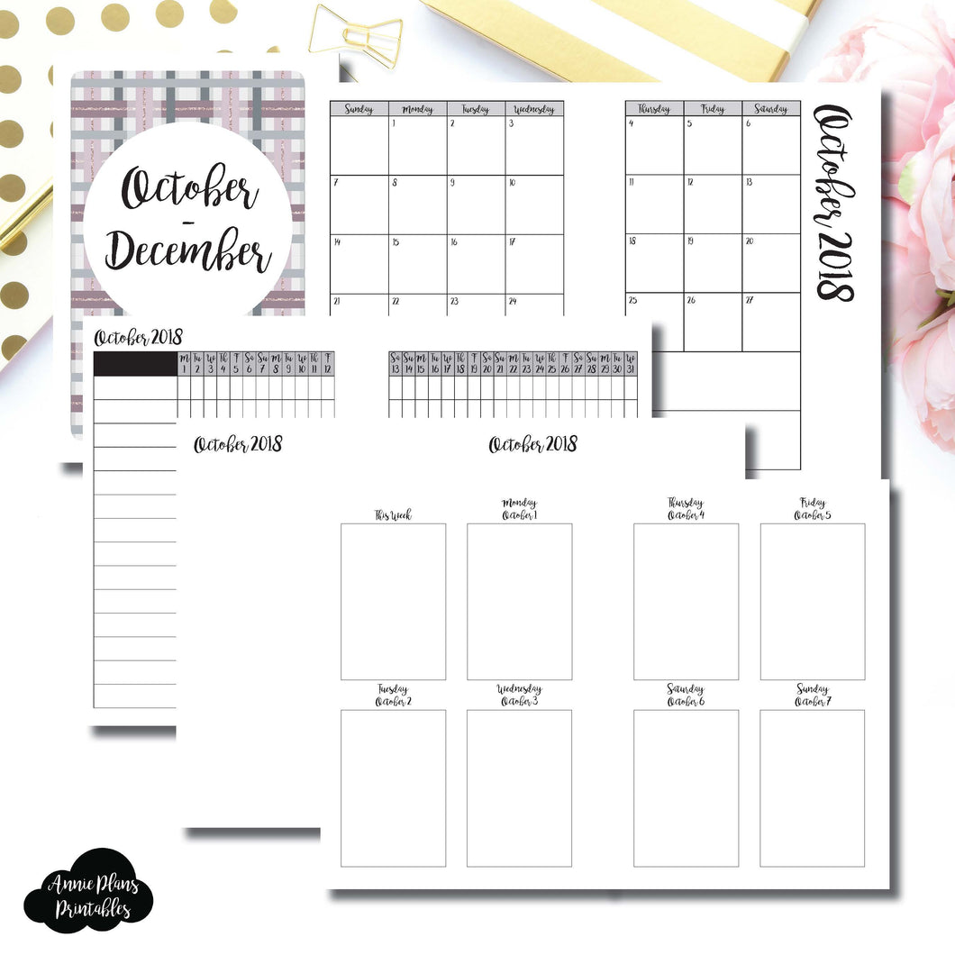 A6 Rings Size | OCT - DEC 2018 | Vertical Week on 2 Page (Monday Start) Printable Insert ©