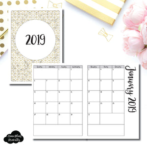 B6 Rings Size | 2019 Monthly Calendar (SUNDAY Start) PRINTABLE INSERT ©