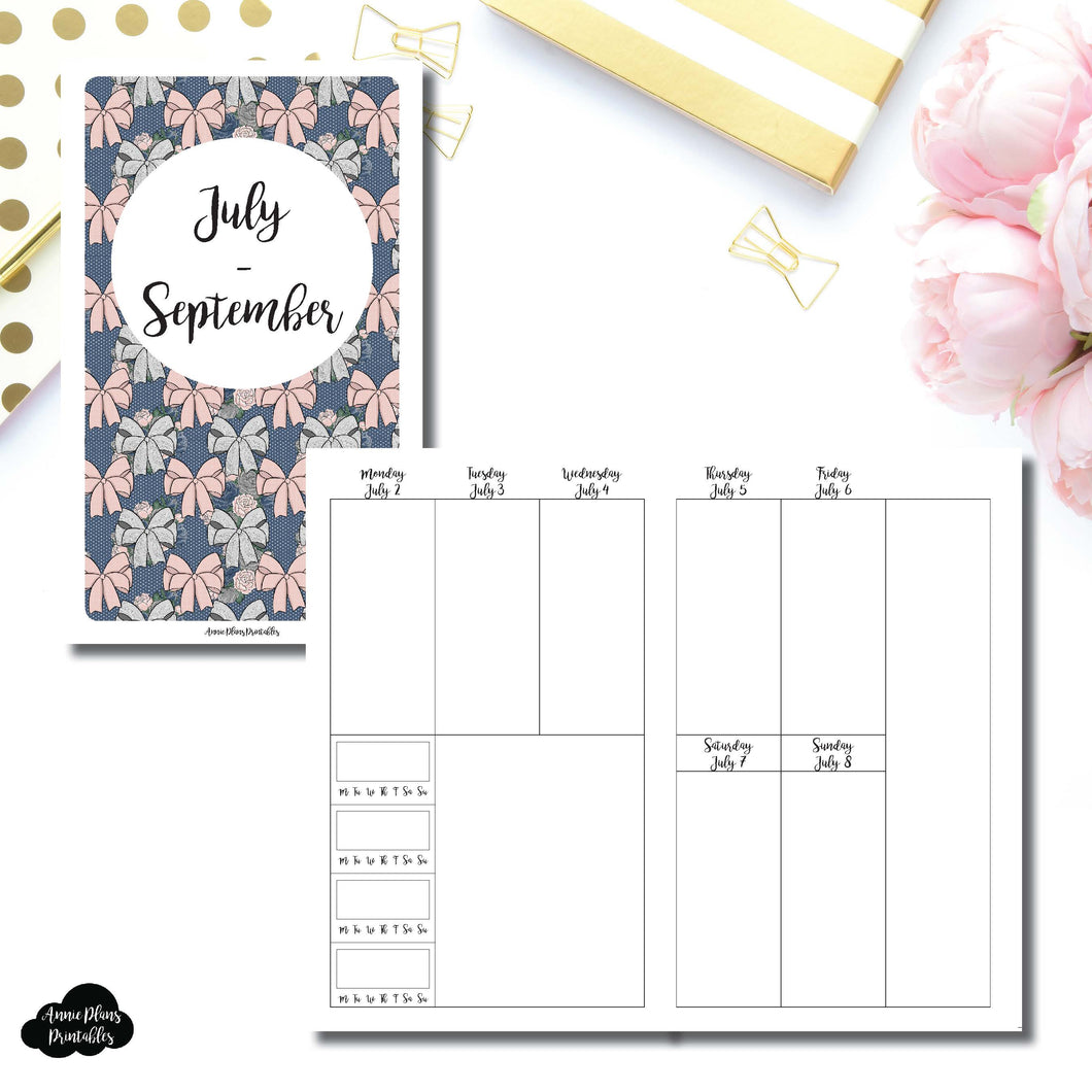 B6 SLIM TN Size | JULY - SEPT 2018 | Vertical Week on 2 Page (Monday Start) With Trackers Printable Insert for Travelers Notebooks ©