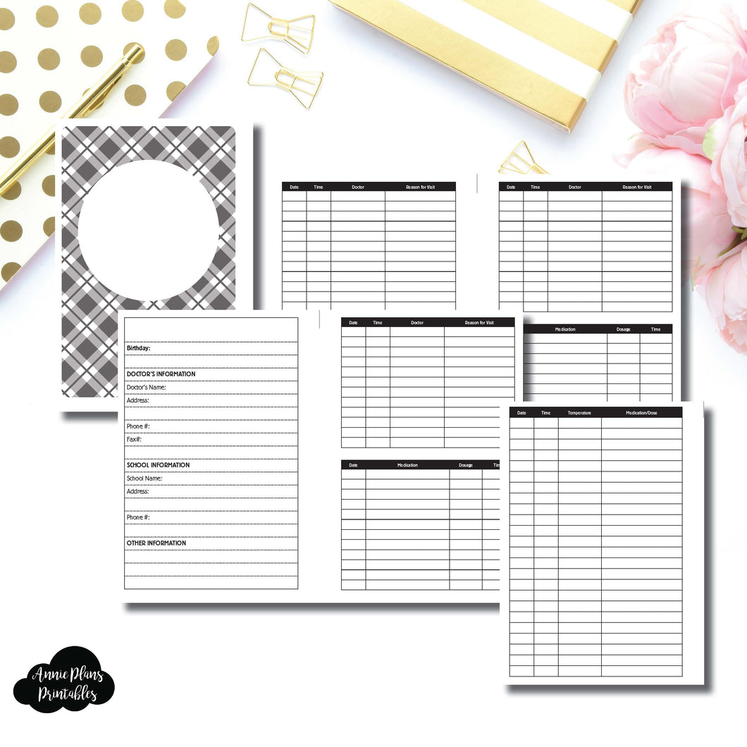 Personal Wide Rings Size | KIDS Information Printable Insert ©