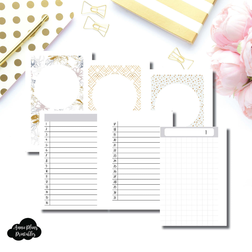 Pocket Rings Size  | UNDATED DAILY GRID Printable Insert ©