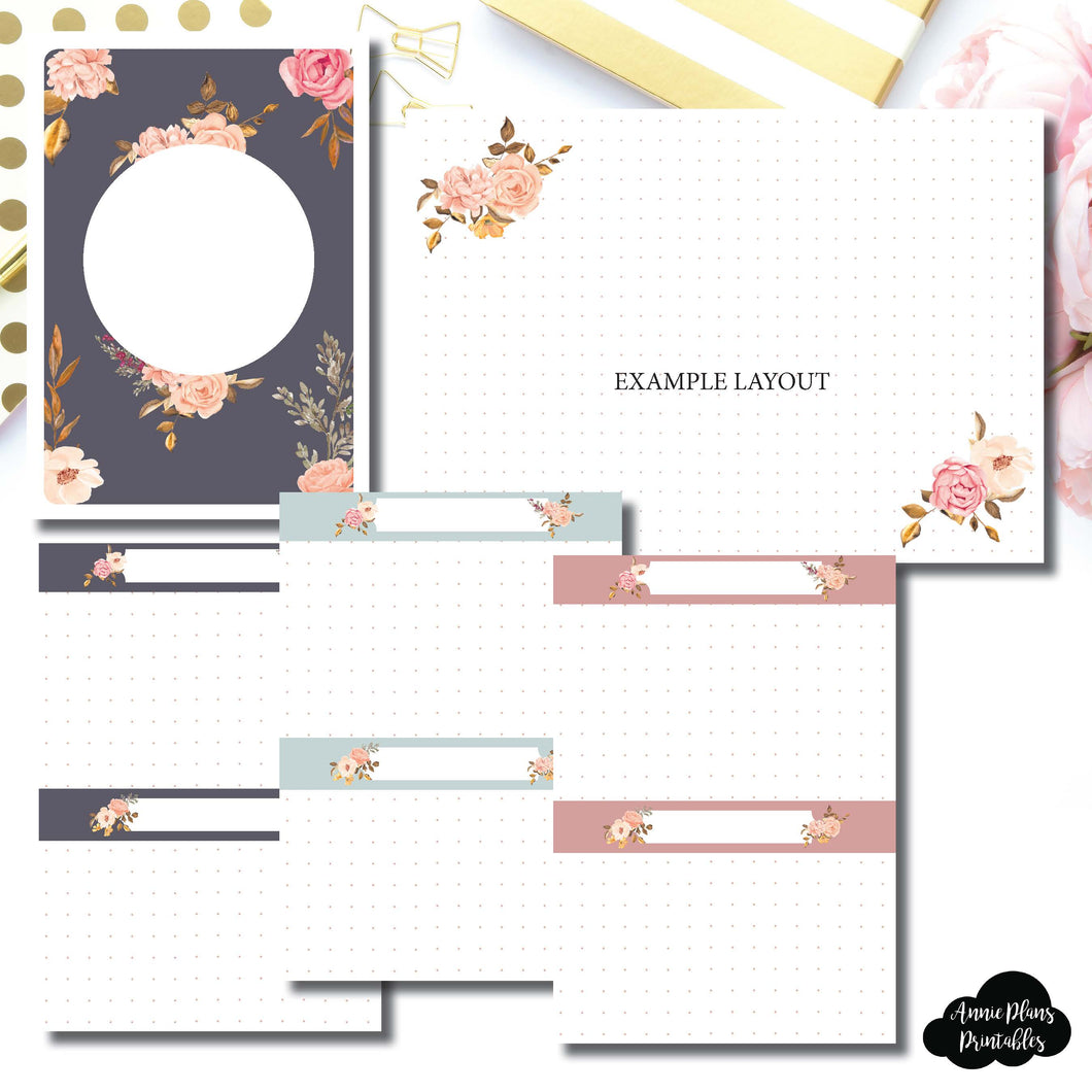 A6 TN SIZE | Two Lil Bees Rose Gold Floral Dot Grid Printable Insert ©